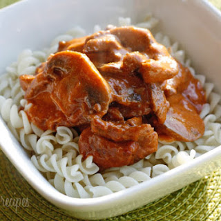 Mom's Lightened Beef Stroganoff.