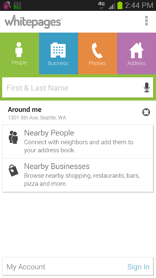 Whitepages- screenshot