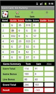 Score Card Gin Rummy