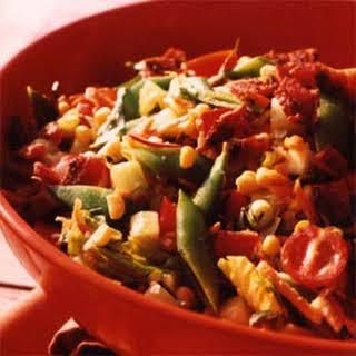 Chop Salad with Corn, Snap Peas, and Bacon.