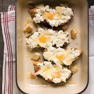 Egg-in-the-Hole Toasts with Ricotta.