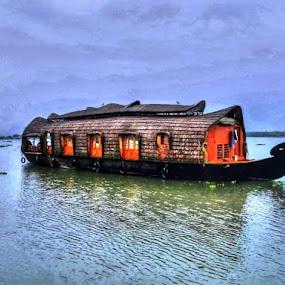Houseboat by Nadir Aziz - Digital Art Things ( gondola, hdr, houseboat, india, boat, , #GARYFONGDRAMATICLIGHT, #WTFBOBDAVIS )