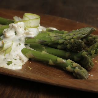 Mario Batali's Asparagus Salad with Tuna Dressing.