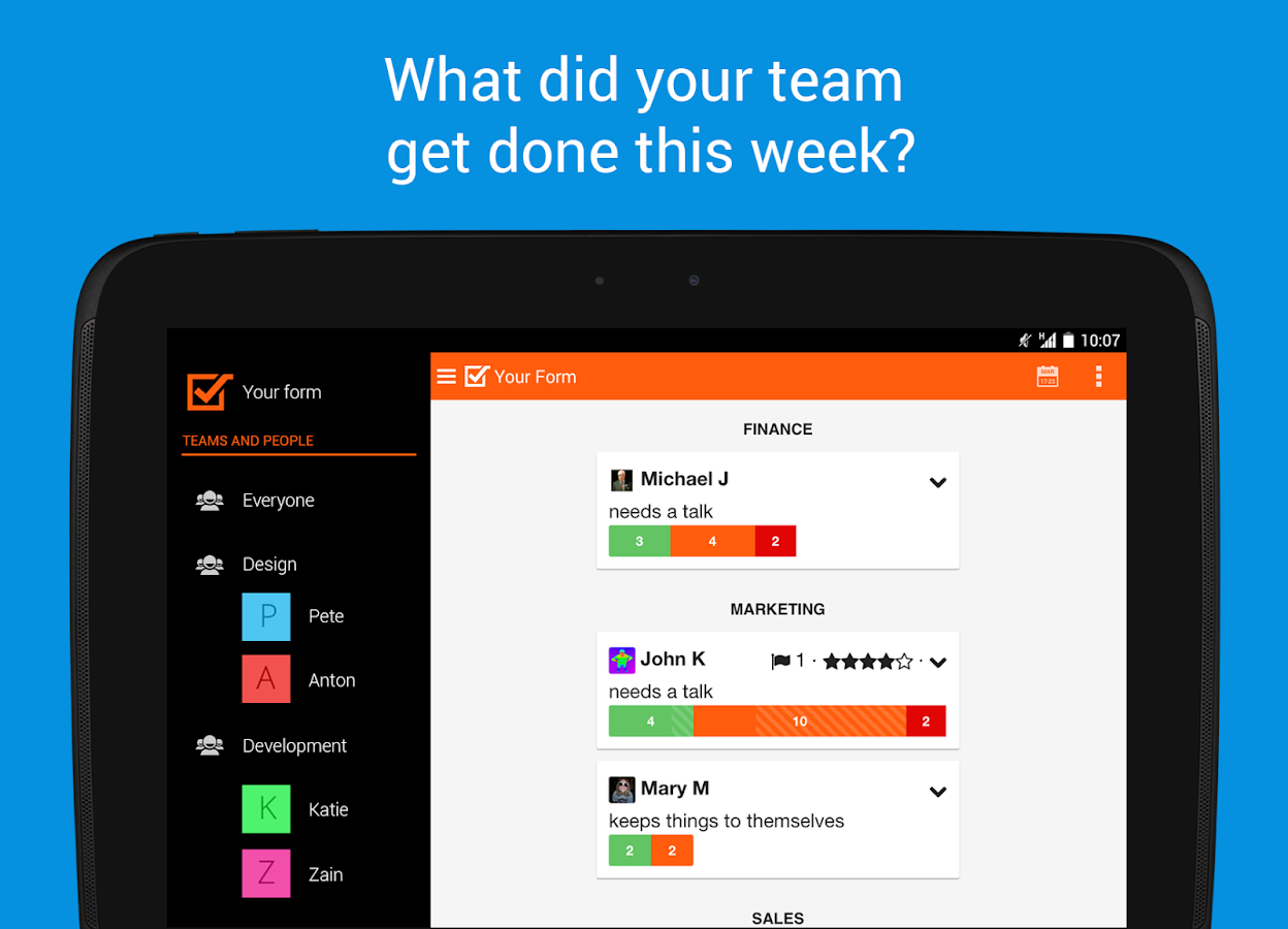 Weekdone - weekly team reports- screenshot