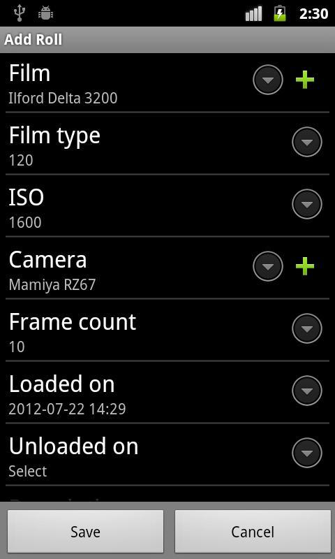 Exif4Film- screenshot