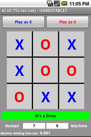 AI x0 Tic Tac Toe UNBEATABLE!!- screenshot