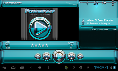Poweramp skin Light Blue Glas v1.33