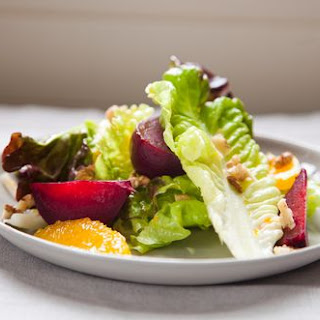 Red Leaf Salad with Roasted Beets, Oranges and Walnuts.