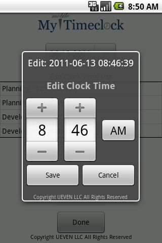 My Mobile TimeClock - screenshot