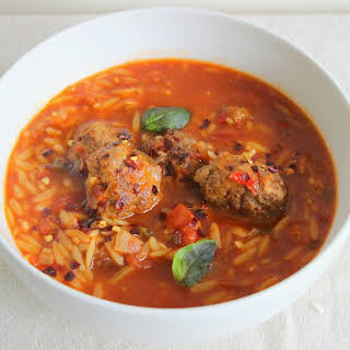 Spiced Beef Risoni Soup.