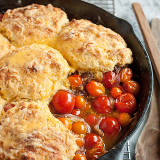 Tomato Cobbler with Cornmeal-Cheddar Biscuits.
