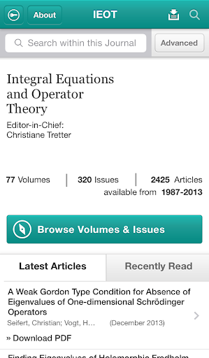 Integ Eqns and Operator Theory