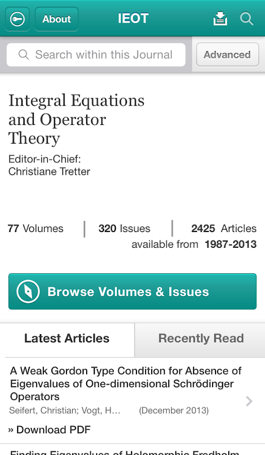 Integ Eqns and Operator Theory - screenshot