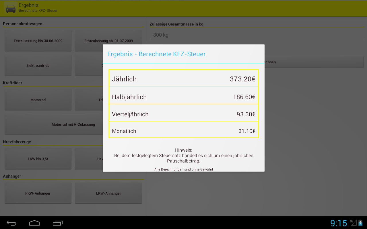KFZ-Steuer Rechner Pro - Android Apps on Google Play