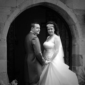 Bride and groom by Mick Greaves - Wedding Bride & Groom ( black and white, bride and groom, bride, groom, holding hands,  )