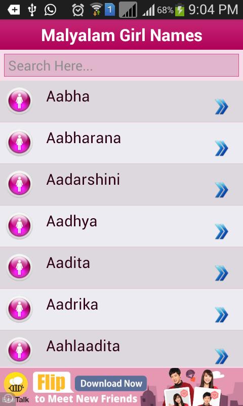Modern baby names malayalam