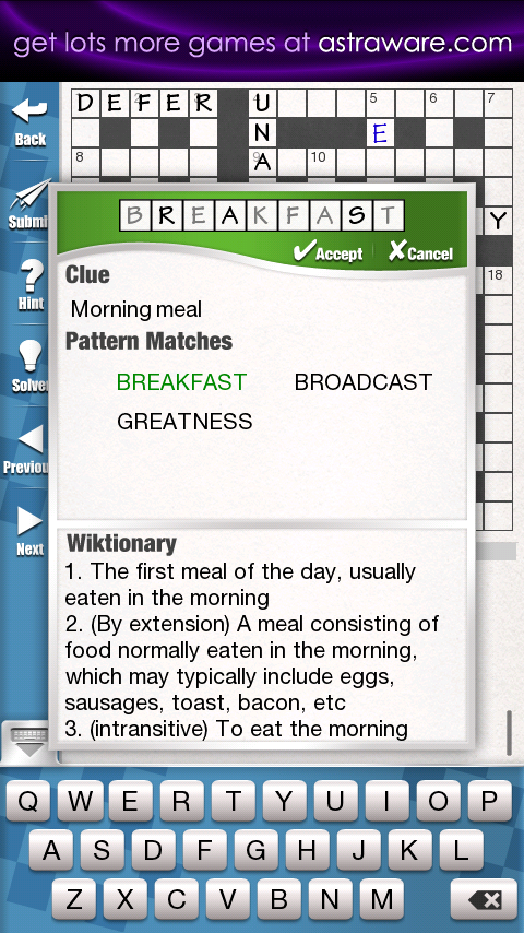 Astraware Crosswords - screenshot