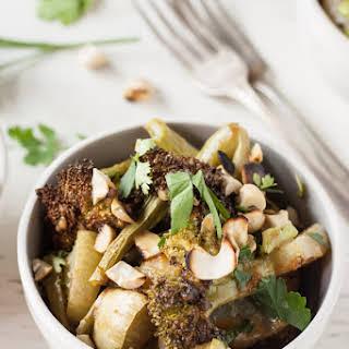 Roasted Broccoli + Kohlrabi Salad with Ginger-Cashew Sauce.