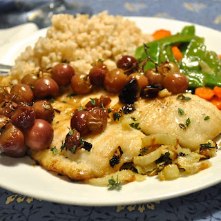 Flounder with Roasted Grapes