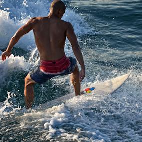 Surfer 2 by Peter Murnieks - Sports & Fitness Surfing ( water, surfer, surf board, white, wave, ocean, stunt, wet suit, trick, flip,  )