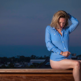 Blue Shirt by Jeff Klein - People Portraits of Women ( roof, studio, model, ironworks, girl, female, siobhan, portrait )