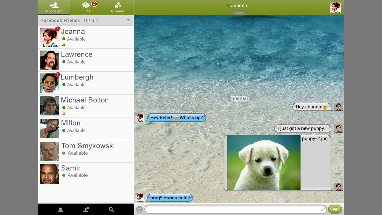 BeejiveIM for Facebook Chat - screenshot