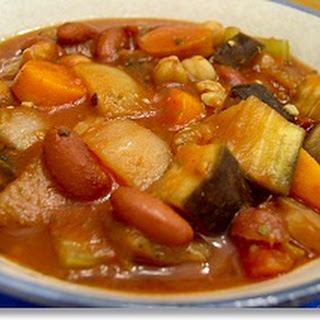 Crockpot Eggplant and Tomato Stew with Garbanzo Beans.