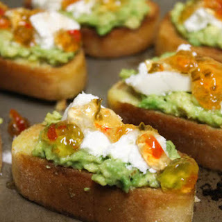 Goat Cheese and Avocado Bruschetta with Hot Pepper Jelly