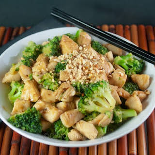 Thai Chicken Stir-Fry With Spicy Peanut Sauce.