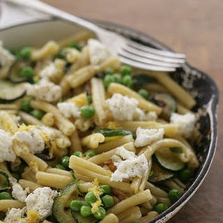 Pasta With Zucchini, Peas, Mint And Ricotta.