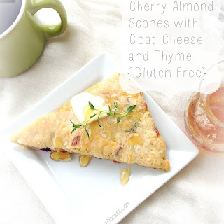 {Gluten Free} Cherry Almond Scones with Goat Cheese and Thyme.