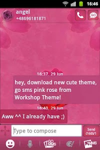 GO SMS Theme Pink Rose Cute screenshot 1