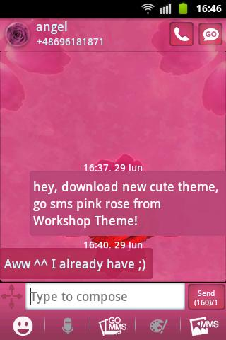 GO SMS Theme Pink Rose Cute - screenshot