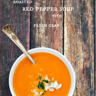 Vitamix Soup | Roasted Red Pepper Soup with Fresh Crab.