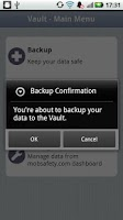 Screenshot of Vault Backup & Restore - Trial