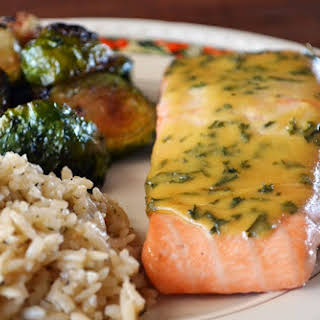 Baked Salmon with Maple-Mustard Sauce.