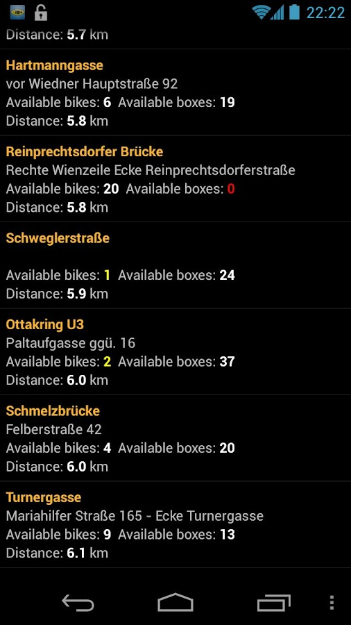 Citybike Stations Vienna - screenshot