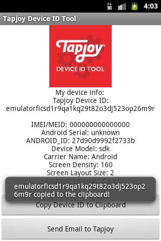 Tapjoy Device ID Tool- screenshot