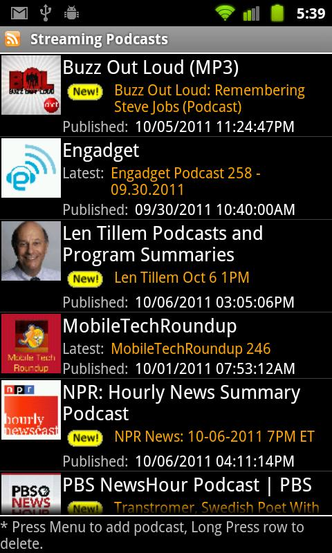 Streaming Podcasts- screenshot