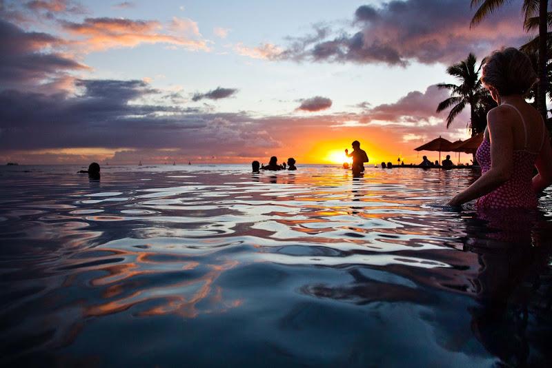 Sunset over Waikiki, Oahu.