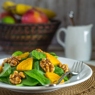 Spinach Salad with Candied Walnuts and Golden Beets.