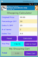 Screenshot of Shopping Calculator