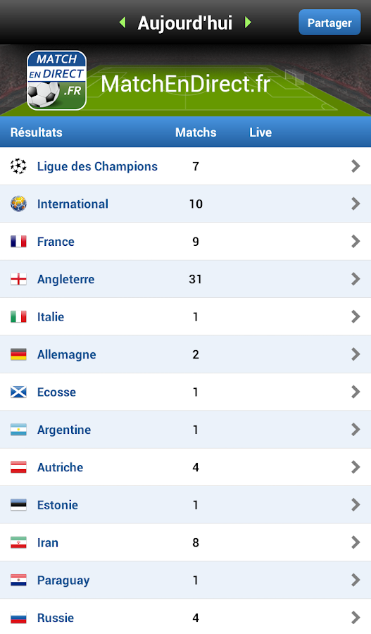 Résultats Foot en Direct - screenshot
