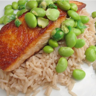 Crispy Salmon with Jasmine Tea Rice and Wasabi Edamame
