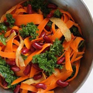 Fresh Salad W/ Chile EVOO, Carrots, Kidney Beans, Kale & Jicama