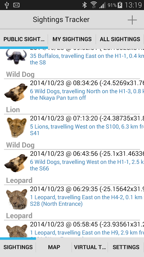 Sightings Tracker - screenshot