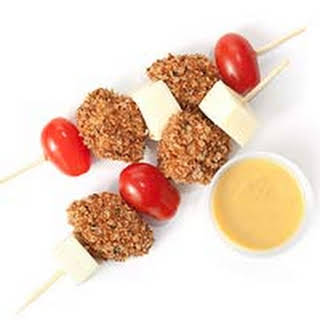 Cock-a-Doodle Skewers with honey-Mustard Dipping Sauce.