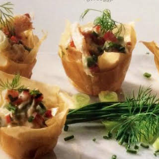 Phyllo Cups with Crabmeat Filling.