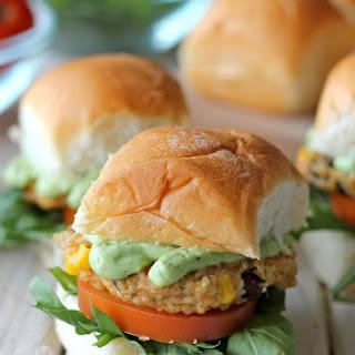 Southwest Quinoa Sliders with Avocado Cream Sauce