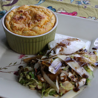 Carrot Souffle with Brussles Sprout and Root Vegetable Salad